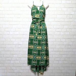Green Ikat Aztec Keyhole Hi Lo Maxi Dress Medium